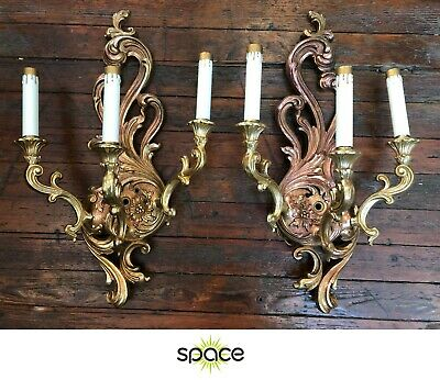 Nice Pair Of Ornate Gilded Gilt Gold Hollywood Regency Wall Sconces Lights