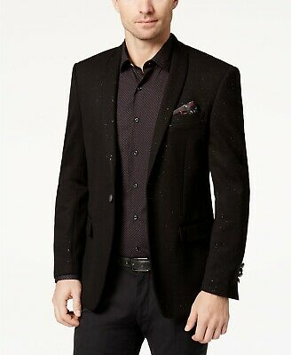 $695 Tallia 42 L Men'S Black One Button Slim Fit Jacket Blazer Sport Coat