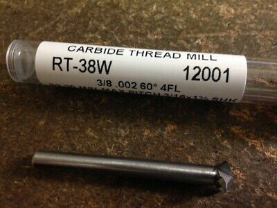 "3/8"" 60 Degree Included Angle 4 Flute Carbide Thread Mill"