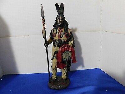 "NICE--14"" Indian Warrior With Spear--Norht American Figure--Figurine---NEW"