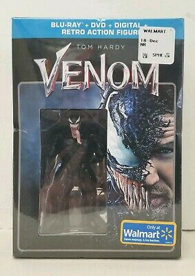 "2018 Walmart Ex. ""Venom"" Blu-Ray + DVD + Digital + Retro Action Figure Set (NIB)"