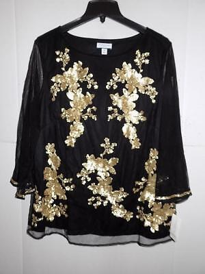 4e01ab68a6d Charter Club Women Plus Black Embellished Mesh Top NWT Size 2X MSRP  89 A2