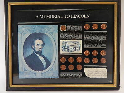 Wooden Framed Abraham Lincoln Memorial 16 Coins Collection 1958 ~ 1973