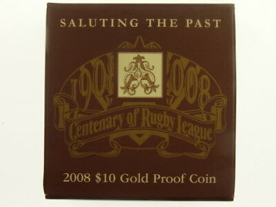 2008 Centenary of Rugby League 1/10oz 9999 Gold Proof Ten Dollars Coin