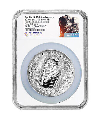Apollo 11 50th Anniversary 2019 Five Oz Proof Silver Dollar NGC PF69 ER UC W/OGP