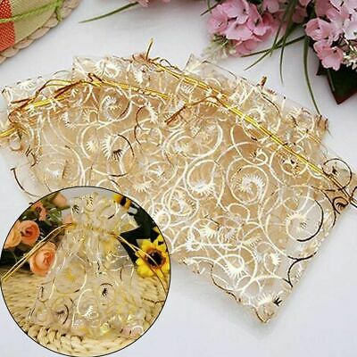25x Golden Drawstring Organza Pouches Fashion Wedding Gift Jewellery Candy Bags