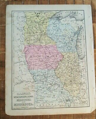 Antique Colored MAP- ILLINOIS, WI, IA, MO, MN / 1872 Mitchell's New Geography