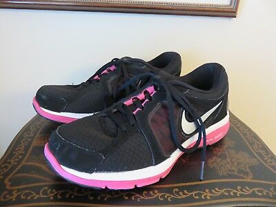 new product 9aeba 294a5 Nike Dual Fusion Womens Athletic Running Shoes Black Pink Size 8 M VGUC