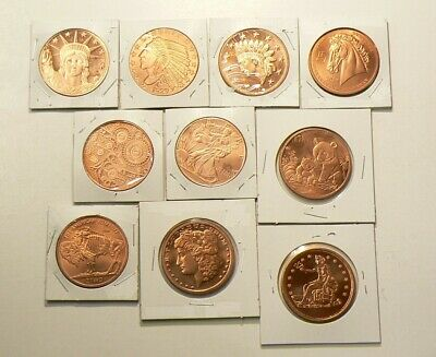 Copper Bullion 1 OZ Coins Lot of 10 Different .999 Pure Rounds #2706