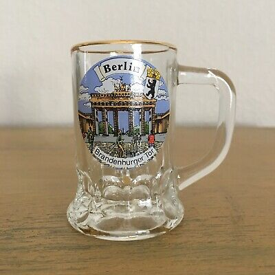 Berlin Germany Shot Glass Miniature Beer Mug Gold Rimmed