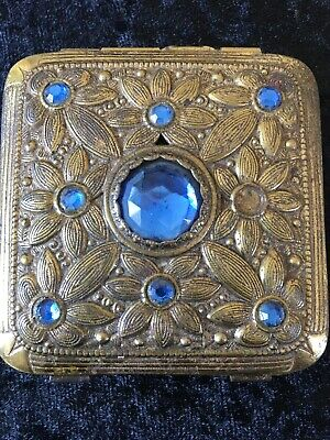 Lovely Old Powder Compact Blue Stones Gold Overlay