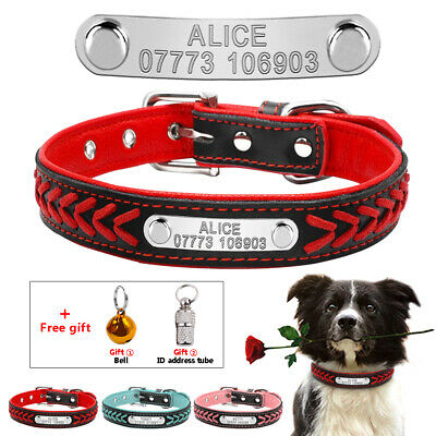 Braided Leather Personalised Dog Collar Cat Puppy ID Name with Free Bell & Tube