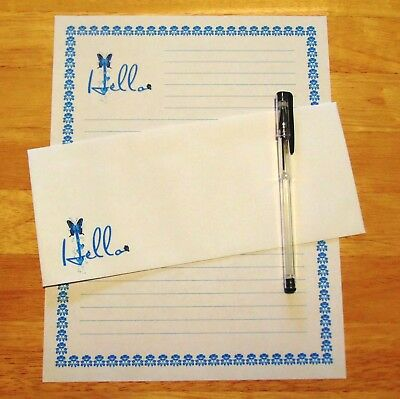 All Occasion Hello Stationery Writing Set With Envelopes - Lined Stationary