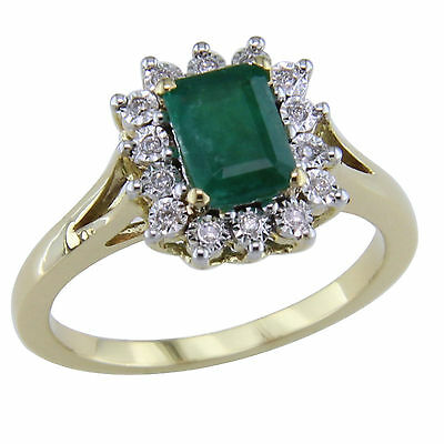 Real 14K Yellow Gold 1 Ct Emerald and Natural Diamond Cluster Engagement Ring