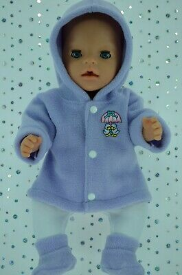 """Play n Wear Doll Clothes To Fit 17"""" Baby Born LILAC JACKET~TIGHTS~BOOTIES"""