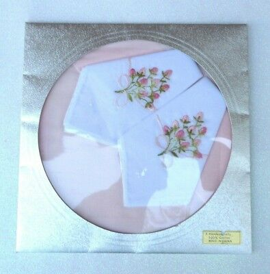 Vtg Boxed Set 3 Lady Cotton Handkerchief Embroidery Floral Hankie Japan New Old