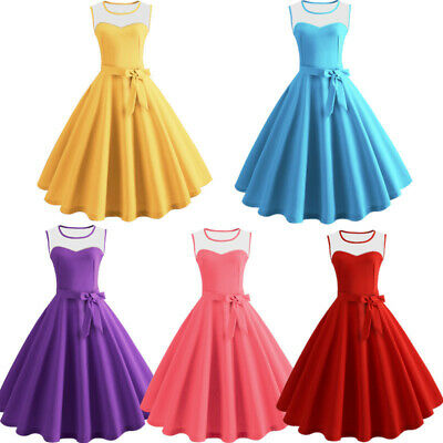 Womens Ladies 50s Style Vintage Mesh Rockabilly Evening Party Retro Swing Dress
