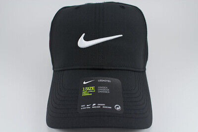 86088bd5 Nike Legacy 91 Dri-Fit Adjust Cap Hat Black/White Golf Training Swoosh Adult