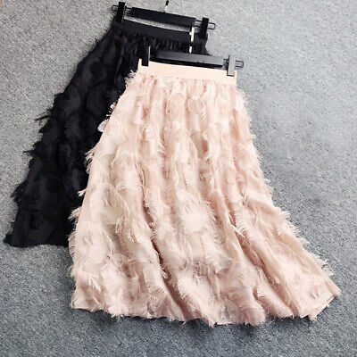 Women Casual Feather Pattern Tassel High Waist Fairy Skirt A Line Long Skirt AU