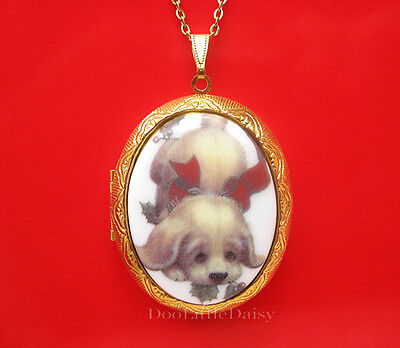Cute Porcelain CHRISTMAS DOG w/ Red Bow & Holly CAMEO GT Locket Pendant Necklace