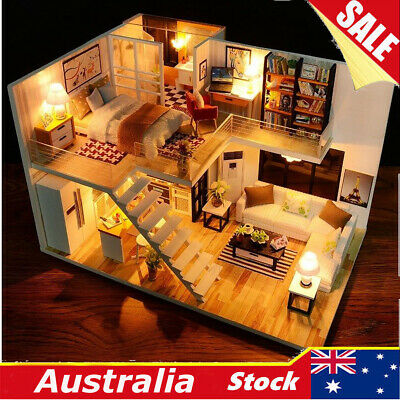 DIY Wooden LED Light Loft Apartments Dollhouse Miniature Kit W/ Furniture Gifts