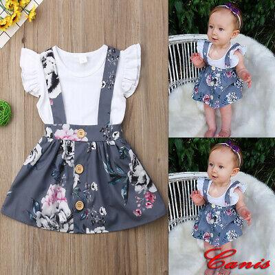Newborn Infant Baby Girl Outfit Clothes Set Floral Romper Tops+Strap Skirt Dress