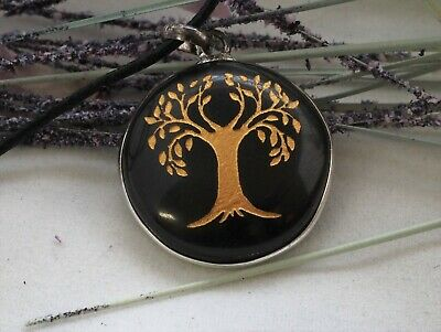 Obsidian Crystal Gemstone Tree of Life Pendant Necklace Protection Grounding
