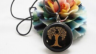 Obsidian Crystal Gemstone Tree of Life Pendant Necklace Protection Grounding Lge