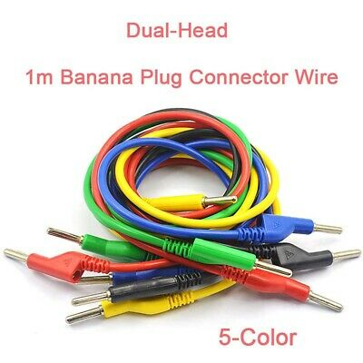 5-Color Dual-Head Banana Plug Connector Wire 1m Test Lead Jump Wire 10A 1500V