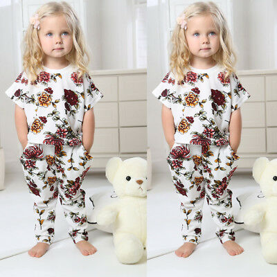 Toddler Baby Girls Boy Floral/Dot Tops Pants Summer Clothes Outfit Set Tracksuit