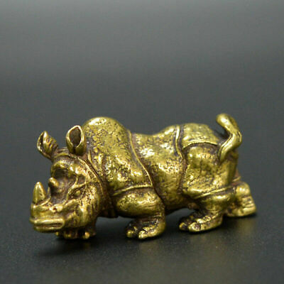 Chinese old collection handwork bronze Rhinoceros Statues Collection