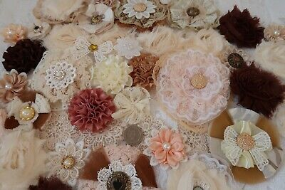 Fabric Flowers Crafts Cards Sewing Floral Decor Embellishments x 35