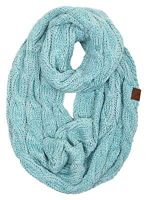 bb2b1f0fdcf2e6 Funky Junque's C.C Beanies Matching Ribbed Winter Warm Cable Knit Infinity  Scarf