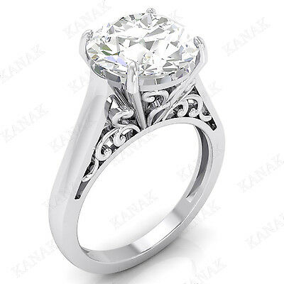 6.00 Ct Round Cut Diamond Solitaire Engagement Ring Solid 14K White Gold