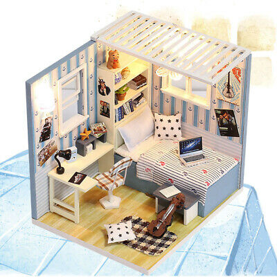 Gifts Dollhouse Furniture Kit Handcraft Model House Miniature Wooden Toy LED