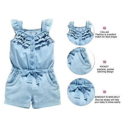 Kids Baby Girl Clothes Rompers Denim Cotton Jeans Pants Sleeveless Bow Jumpsuit