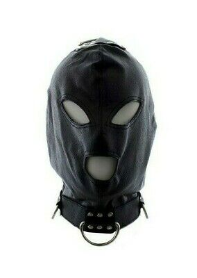 Bondage hook mask collar black maschera collare fetish nero per uomo e donna int