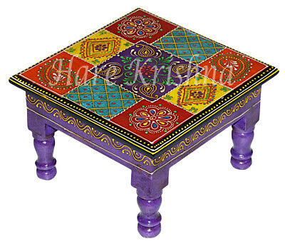 Prime Indian Wooden Side Table Painted Step Stool Table Square Squirreltailoven Fun Painted Chair Ideas Images Squirreltailovenorg