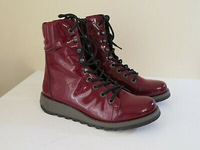 5117e09f90a1c FLY LONDON BURGUNDY Patent Leather Lace Up Mid Boots New Same 40 42 ...