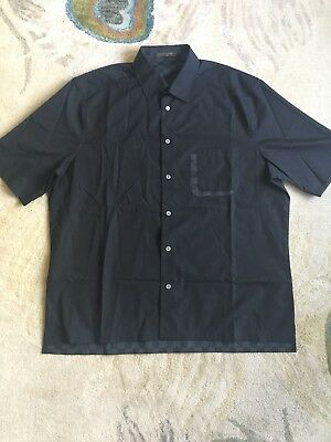 9b55abf30f3a Louis Vuitton Mens Short Sleeve Button Down Shirt Damier Black Size XXL