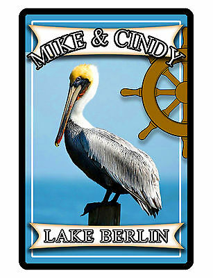 Personalized PELICAN Sign with YOUR NAME+ LOCATION Full Color Aluminum Design253