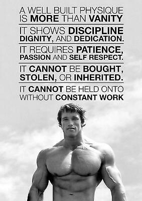 Arnold Schwarzenegger Motivation Gym Poster Art - A5 A4 A3 A2 Sizes
