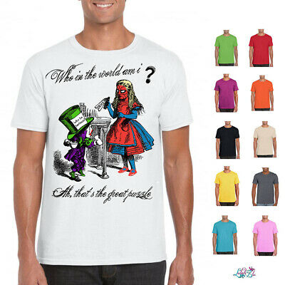 Mens Who In The World Am I T-Shirt | Alice In Wonderland | Mad Hatter |Funny