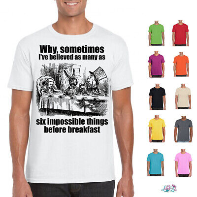 Mens Six Impossible Things T-Shirt | Alice In Wonderland | Mad Hatter |Tea Party