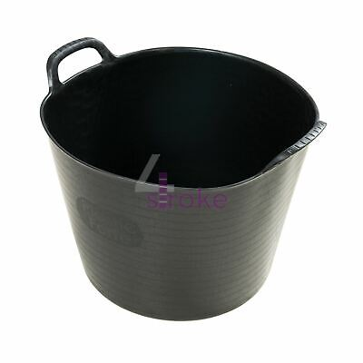 42Ltr Large Flexible Garden Tub Trendy Bucket Black - 10pk