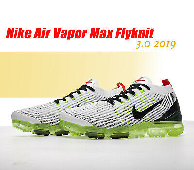 buy online 020a5 295b3 NIKE AIR VAPORMAX Flyknit 3.0 2019 Mens White/Green & Bk Running Trainers  Shoes