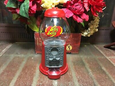 "Gumball Machine Jelly Belly Cast Iron Glass Globe Dispenser Vintage 10"" Tall"