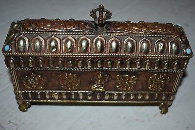 orig $299-NEPAL/TIBET SHAMANS COPPER, BRASS BOX EARLY 1900S 10""