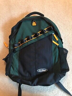 b22e20e663fa LL Bean Hiking Bag Book Bag Back Pack Vintage Green Outdoors Yellow Black