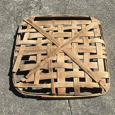 "Large Antique Tobacco Basket - Maroon Band Marked Knott - Primitive 39"" x 39"""